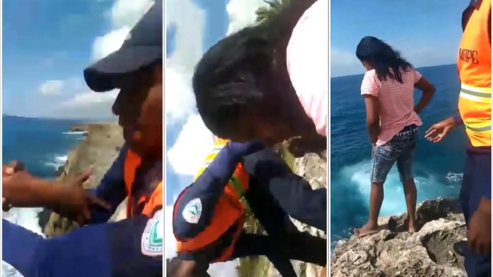 Photo of Agentes evitan que mujer se tire al mar cerca de la Lincoln en Santo Domingo