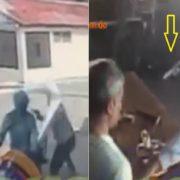 Captan momento en que encapuchados asaltan colmado en Villa Duarte SFM