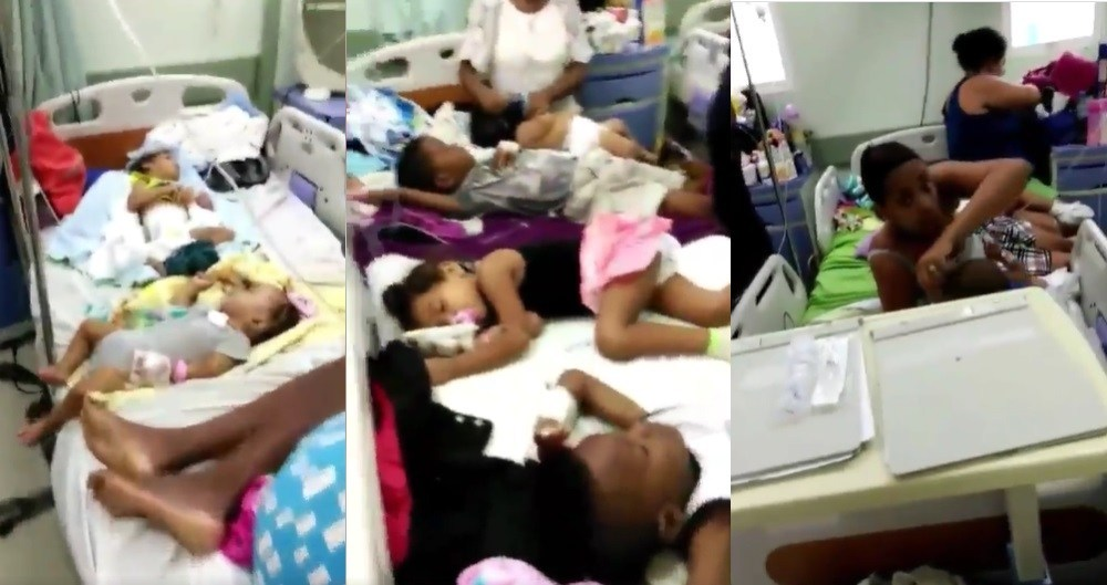 Photo of En hospital Arturo Grullón ponen 5 niños enfermos en la misma camilla